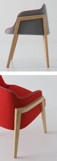 Low lounge #chair with armrests CHEVALET by GABER | #design Favaretto&Partners