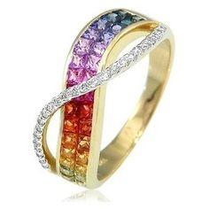 18K Yellow Gold Rainbow Sapphire & Diamond Ring