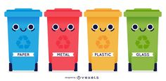 Comic looking 4 recycle bin containers in different color with facial artwork on the body and different material indicator names on it at the bottom part. Garbage Recycling, Recycling Bins, Montessori Materials, Montessori Toys, Road Safety Poster, Rainforest Project, Save Our Earth, Recycling Center, Baby Education