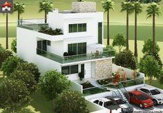 Planta de Sobrado - 5 Quartos - 304.2m² - Monte Sua Casa