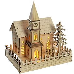 WeRChristmas 22 cm Pre-Lit Wooden Church Christmas Decoration with LED Lights…