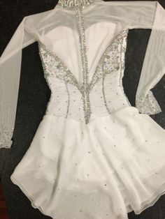 TANIA BASS Beautiful White Beaded Competition Figure Skating Dress