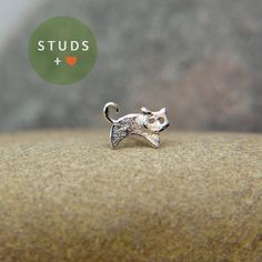 CARTILAGE french CAT sterling silver/ cartilage by StudsEarrings, $13.95