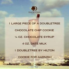 "The DoubleTree Cookie is the perfect treat! Especially in a cocktail form. Try DoubleTree by Hilton Ras Al Khaimah's ""Marhaba. Chocolate Syrup, Chocolate Chip Cookies, Doubletree Cookies, Ras Al Khaimah, Fun Facts, Cocktails, Treats, Craft Cocktails, Sweet Like Candy"