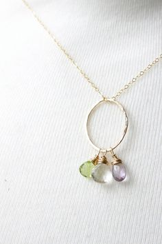 Gold mother's necklace gold birthstone by HoneyWillowWedding