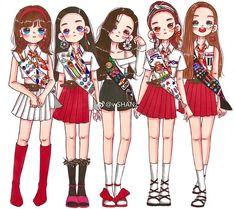 Check out Black Velvet @ Iomoio Kpop Drawings, Cute Drawings, Kpop Costume, Red Velet, Drawings Of Friends, Fan Art, Kpop Fanart, Kpop Outfits, Cute Dolls