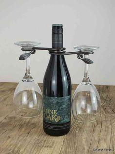 Hand forged leaf design wine glass holder