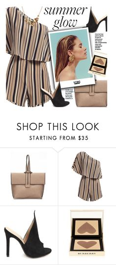 """""""Yoins: Summer Glow"""" by beebeely-look ❤ liked on Polyvore featuring Burberry, stripes, romper, StreetChic, summerglow and yoinscollection"""
