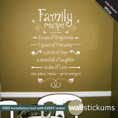Family Recipe Wall Decal Vinyl Quote By WallStickums On Etsy
