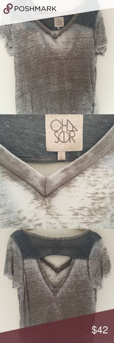 Chaser s L grey/army green v- neck t- shirt Chaser s L grey/army green v- neck t- shirt. Super adorable the hottest brand right now beautiful cut out back please refer to pictures in excellent condition worn once Chaser Tops Tees - Short Sleeve