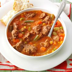Tomato Hamburger Soup Recipe -As a full-time teacher, I only have time to cook from scratch a few nights each week. This recipe makes a big enough batch to feed my family for 2 nights. —Julie Kruger, St. Cloud, Minnesota