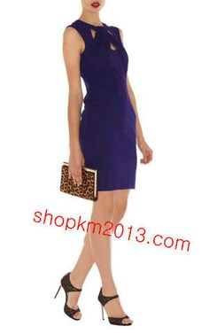 Karen Millen DP214 Blue Cut Away Neckline Jersey Dress