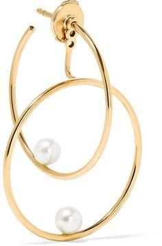Anissa Kermiche - 14-karat Gold Pearl Hoop Earring http://www.vannajewelry.com/product-category/earrings/