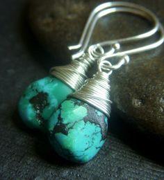Genuine Turquoise Earrings on Sterling  Wirewrapped by beadstylin