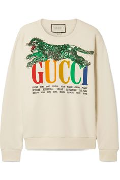 9c68f07b2fc Gucci - Oversized embellished printed cotton-terry sweatshirt