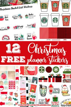 12 FREE Christmas planner stickers sets to decorate your planner for the Holidays: weekly kit, monthly kit, countdown, bucket list, etc! Christmas Stickers Printable, Free Christmas Printables, Printable Planner Stickers, Free Printables, Calendar Stickers, Calendar Ideas, Free Planner, Happy Planner, Planner Ideas