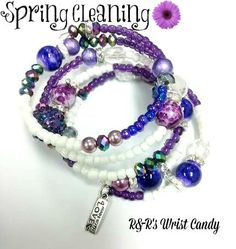 Purple and White Beaded Coil Bracelet by RandRsWristCandy on Etsy