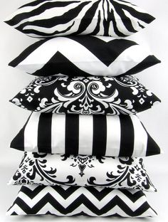 BLACK and WHITE Pillow cover you pick zigzag chevron damask ozborne traditions stripe canopy zebrathrow cushion sham Premier Prints on Etsy, Decorative Pillow Covers, Decorative Throw Pillows, Decorative Items, Black And White Pillows, Black White, White Cushions, White Sofas, Velvet Cushions, White Pillow Covers
