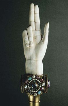 "Hand of Justice Made for the coronation of Napoleon I Artist: Martin-Guillaume Biennais Material: Ivory, copper, gold and cameos, including the so-called ""Ring of Saint Denis"" from the Treasure of Saint-Denis. St Denis, Palmistry, Museum Collection, Crown Jewels, Helping Hands, Napoleon, Learn French, Worlds Of Fun, Printing Process"
