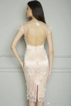 Wholesale Cocktail Dress - Buy Tea Length Mother Of The Bride Dress Short Sleeve Sheath Embroidery Cocktail Lace Evening Dress Sexy Open Back Weeding Gown, $118.46 | DHgate