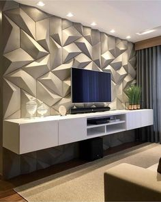 These days TVs are often found on walls, but when it comes to deciding how you want to create the perfect TV wall, it can be challenging to. Tv Wall Cabinets, Tv Wall Decor, Wall Tv, Bedroom Tv Wall, Bedroom Apartment, Living Room Tv Unit Designs, Tv Wall Design, Tv Cabinet Design, Design Case
