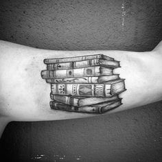 Male Inner Biceps Old Grey Books Tatto
