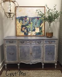 Old Violet & Paris Grey Chalk Paint® with Soft Clear Wax. Abstract painting is also painted with Chalk Paint®. Project by Brentwood, TN Annie Sloan Stockist C'est Moi.