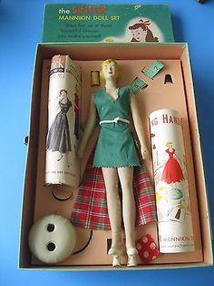 Vintage Singer Sewing Mannikin Mannequin Doll Sewing Case Lot Childs Pattern
