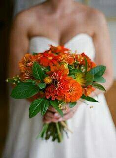 Beautiful Bridal Bouquet Arranged With: Orange Mexican Sunflowers + Orange Dahlias, Green Foliage