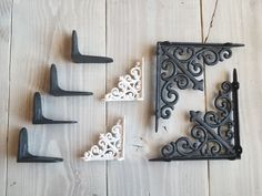 "SET 8 BROWN ANTIQUE-STYLE 9.5/"" SHELF BRACKETS CAST IRON rustic garden LEAF SWIRL"