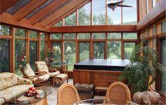 solarium, with a hot tub of course Outdoor Rooms, Outdoor Living, Indoor Outdoor, Hot Tub Room, Four Seasons Room, 4 Season Room, Hot Tub Deck, Room Additions, Diy Garden