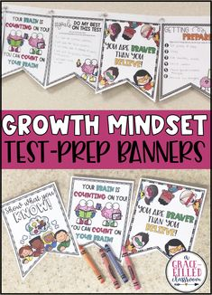 Use these growth mindset test prep banners to encourage and motivate your students to do stay positive during the test. Decorate your classroom with growth mindset messages! #growthmindset #growthmindsetactivities #growthmindsetbanners