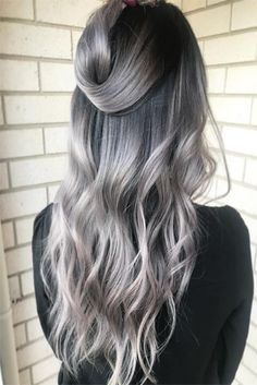 Luscious Balayage With Subtle Purple Tones - 20 Stunning Examples of Mushroom Brown Hair Color - The Trending Hairstyle Brown Hair With Silver Highlights, Silver Ombre Hair, Brown Hair Shades, Light Brown Hair, Ombre For Dark Hair, Color Your Hair, Hair Color Dark, Ombre Hair Color, Brown Hair Colors
