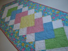 Easter Quilted Table Runner , Spring Table Runner , Easter Eggs and Polka Dots , Quiltsy Handmade by VillageQuilts on Etsy