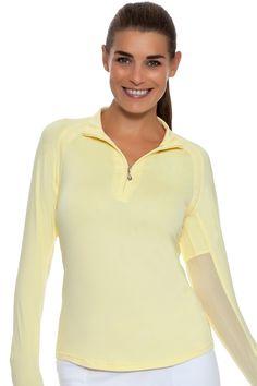 Women's Golf l SanSoleil SolTek Solid Mock Sun Shirt : 900415