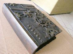 Handmade steampunk wooden book, box, secret drawer, trinket case, jewelry case, presentation box