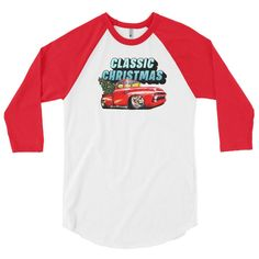 A Sammy James Red Christmas Truck Classic Tshirt in my #etsy shop: Christmas shirt for women, red Christmas truck shirt, Womens Christmas Tshirt, holiday raglan shirt, Christmas truck, christmas gifts her,