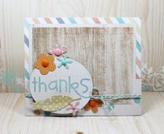 Card by Kim Hughes using Bold Buzzwords, Pocket dies, Ovals 1, Feathers dies