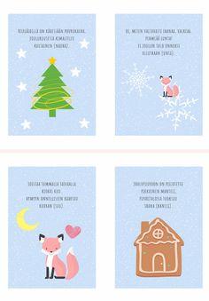 Kuura-ketun jouluiset riimittelykortit Finnish Language, Preschool Christmas, Kindergarten, Projects To Try, Playing Cards, Teaching, Education, Crafts, Nature