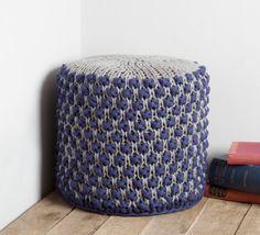 Cylindrical Hand Knit Pouffe/ Pouf/ Ottoman/ by buryknitwear, £120.00
