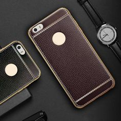 Plating Frame + Litchi Leather Soft Back Phone Case For iphone 5/5S/SE 6/6S Plus 7/7 Plus TPU Electroplating Protect Cover Skin