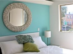 light blue feature wall