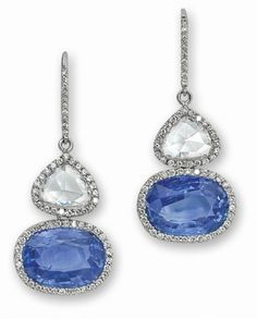 PHILLIPS : UK060111, , A pair of sapphire and diamond ear pendants