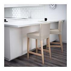 IKEA - HENRIKSDAL, Tabouret de bar à dossier, bouleau/Linneryd naturel, 74 cm, , Assise rembourrée pour un meilleur confort.Confortable grâce au repose-pieds.Les pieds de chaise sont en bois massif, un matériau naturel et solide.La housse du tabouret de bar HENRIKSDAL est facile à poser et à enlever.