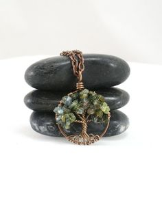 Petite Green Tourmaline Tree Of Life Copper by Just4FunDesign