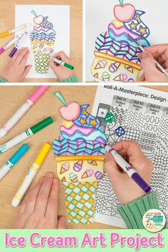 Searching for unique summer art projects for kids that your students will love? Try this ice cream cone roll-a-dice art Unique Art Projects, Summer Art Projects, Art Projects For Adults, Toddler Art Projects, Art Project For Kids, Art Games For Kids, Art Lessons For Kids, Summer Arts And Crafts, Spring Crafts