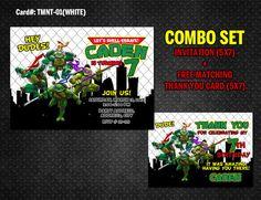 Ninja Turtles DIGITAL Invitation for Teenage Mutant Birthday - (TMNT-01-White)