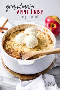 this favorite fall dessert - Grandma's Apple Crisp - tonight! It's incredibly easy and has no oats! Serve with ice cream for a sweet treat! Apple Crisp Without Oats, Best Apple Crisp, Apple Crisp Recipes, Apple Desserts, Fall Desserts, Just Desserts, Dessert Recipes, Potluck Recipes, Dessert Bars