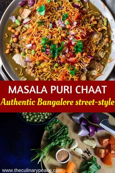 Try this authentic Indian street food as your next chaat party recipe, or as your next potluck recipe. This recipe of masala puri chaat is exactly like your Bangalore Mysore street-style recipe, vegetarian, vegan, delicious. Definitely a crowd pleasing appetizer. #TheCulinaryPeace #IndianFood #ChaatRecipes #IndianStreetFood #Karnatakafood #SouthIndianFood #ChaatPartyRecipes #IndianPotluckRecipes #IndianAppetizer #SnackRecipesVegetarian #IndianFoodRecipes