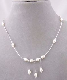 925 Sterling Silver Bead And Freshwater Pearl Necklace Jewelry New Lovely #unbranded #Pendant